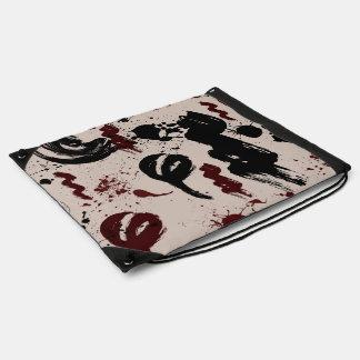Red Black Abstract Drawstring Bag