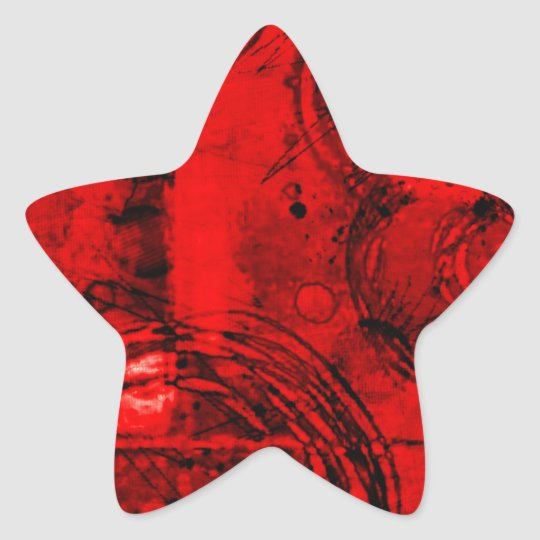 Red/Black Abstract Star Sticker