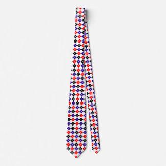 Red Black and Blue Argyle Custom Tie