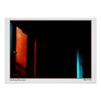 Red, Black and Blue in Shadows Poster