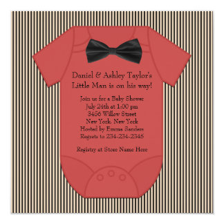 Red Black and Brown Pinstripe Baby Boy Shower Card