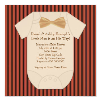 Red Black and Brown Pinstripe Baby Shower Card