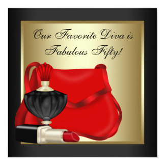 Red Black and Gold Birthday Party Invitation