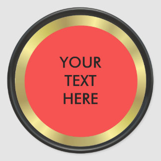 Red, Black and Gold Elegance Classic Round Sticker