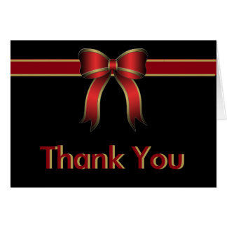 Red Black and Gold Gift with Bow Thank You Card