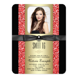 Red Black and Gold Glitter Sweet 16 Party Card