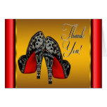 Red Black and Gold High Heels Thank You Stationery Note Card