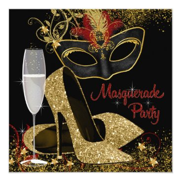 Halloween Themed Red Black and Gold Masquerade Birthday Party Card