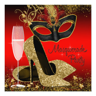 Red Black and Gold Masquerade Birthday Party Announcement