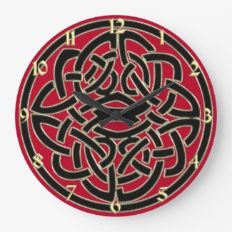 Red Black and Gold Metallic Celtic Knot Clock
