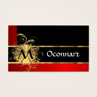 Red black and gold monogram business card