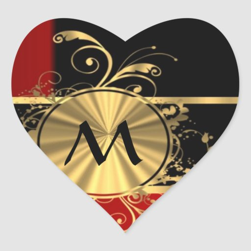 Red black and gold monogram heart sticker