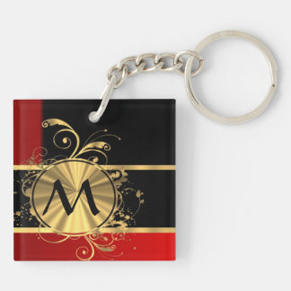 Red black and gold monogram keychain