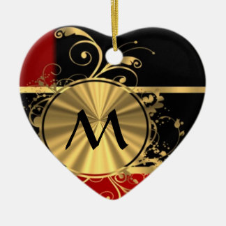 Red black and gold monogram Double-Sided heart ceramic christmas ornament
