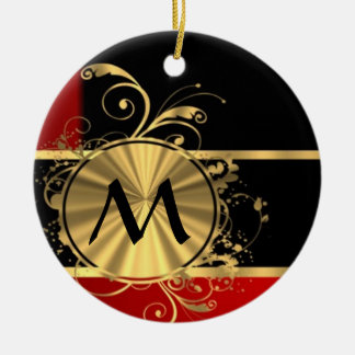 Red black and gold monogram Double-Sided ceramic round christmas ornament