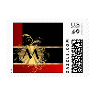 Red black and gold monogram postage