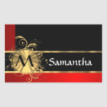 Red black and gold monogram stickers