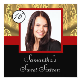 Red, black and gold photo sweet sixteen card