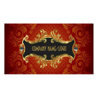 Red Black And Gold Swirls Business Card Template Business Card Templates