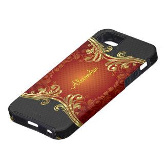 Red Black And Gold Tones Vintage Swirls 2-Monogram iPhone SE/5/5s Case