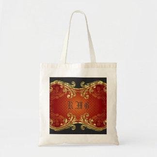 Red Black And Gold Tones Vintage Swirls 2-Monogram Tote Bag