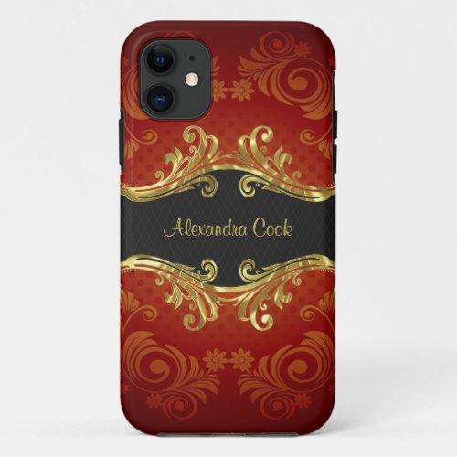 Red Black And Gold Tones Vintage Swirls-Monogram Phone Case