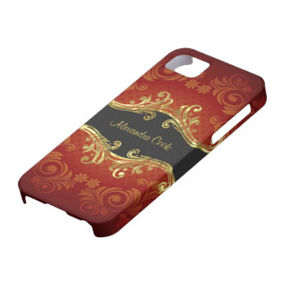 Red Black And Gold Tones Vintage Swirls-Monogram iPhone 5 Cover