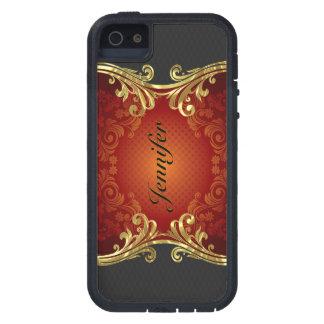 Red Black And Gold Tones Vintage Swirls-Monogram iPhone SE/5/5s Case