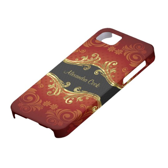 Red Black And Gold Tones Vintage Swirls-Monogram iPhone SE/5/5s Case