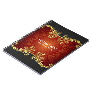 Red Black And Gold Tones Vintage Swirls -Template Note Book