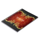 Red Black And Gold Tones Vintage Swirls -Template Note Books