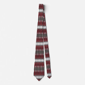 Red, Black and Gray Geometric Pattern Neck Tie