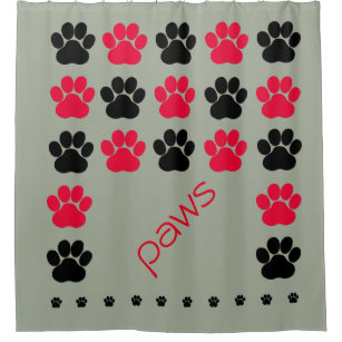 Red Black And Gray Paw Print Shower Curtain