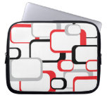 Red, Black and Gray Retro Square Electronics Sleev Laptop Sleeves
