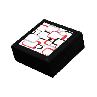 Red, Black and Gray Retro Square Gift Box