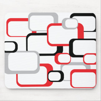 Red Black and Gray Retro Square Mousepad