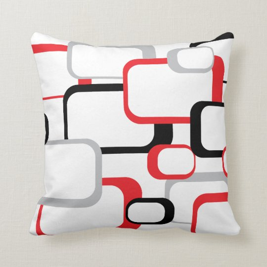 Red, Black and Gray Retro Square Throw Pillow