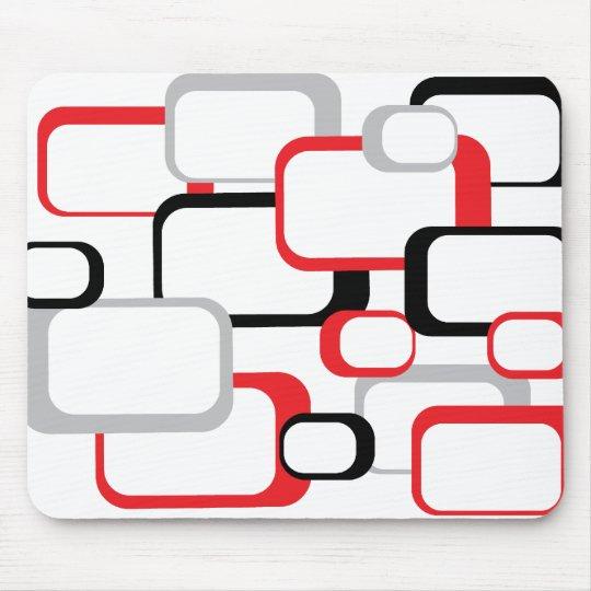 Red Black and Gray Retro Square White Mousepad