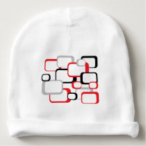 Red, Black and Gray Retro Squares Baby Beanie