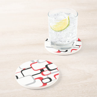 Red, Black and Gray Retro Squares Drink Coaster