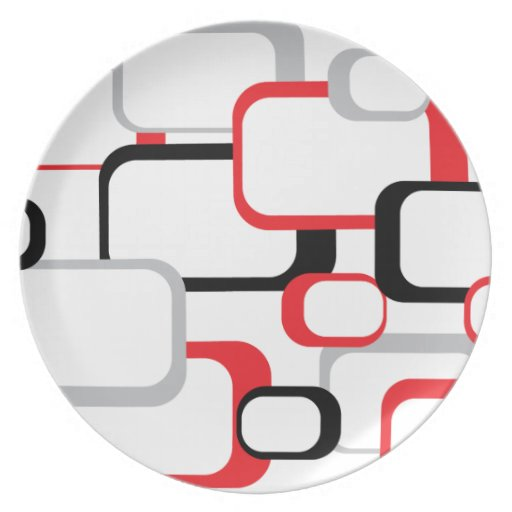 Red, Black and Gray Retro Squares Plate