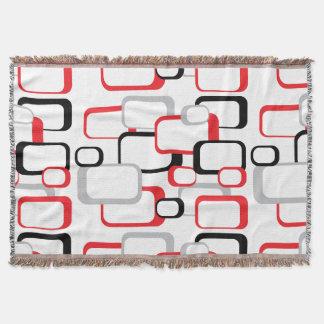 Red, Black and Gray Retro Squares Throw