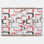 Red, Black and Gray Retro Squares Throw Blanket