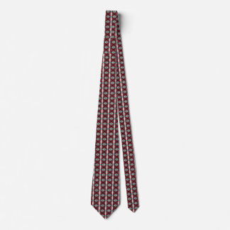 Red, Black and Gray Small Geometric Pattern Neck Tie