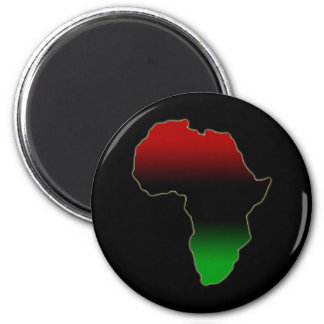 Red, Black and Green Africa Shape 2 Inch Round Magnet