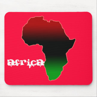 Red, Black and Green Africa Shape Mouse Pad