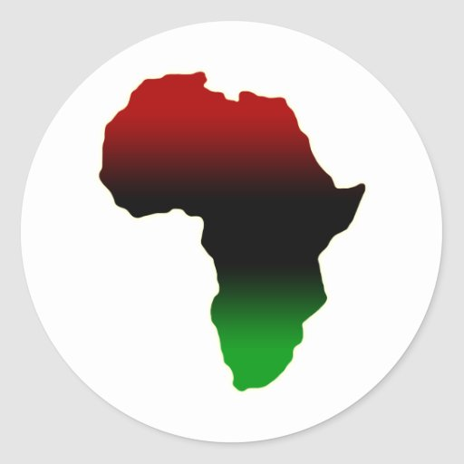 Red, Black and Green Africa Shape Stickers