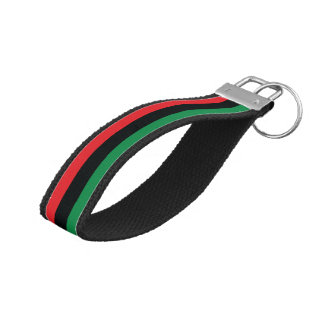 Red, Black and Green Flag Wrist Keychain