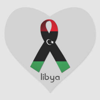 Red Black And Green Ribbon Libya Heart Stickers