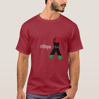 Red Black And Green Ribbon Tee For Libya